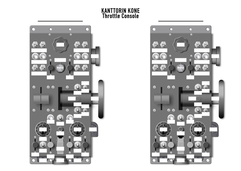 Kanttorin Kone Throttle Console - Printable A4-size template picture to key mapping. Click to enlarge!